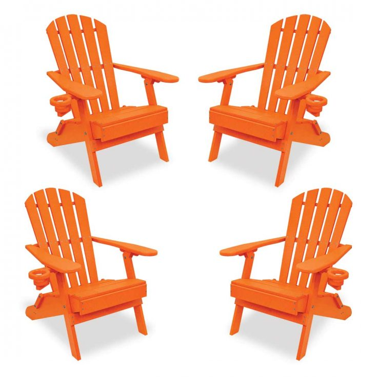 Set of 4 Value Line Adirondack Chairs in Bright Orange