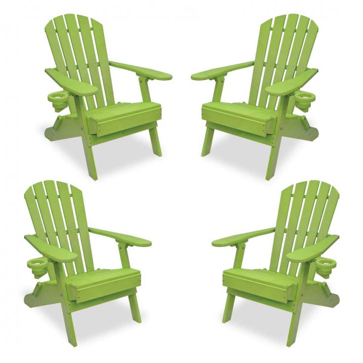 Set of 4 Value Line Adirondack Chairs in Lime Green
