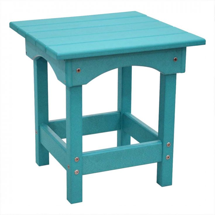 Outer Banks Square Side Table in Aruba Blue