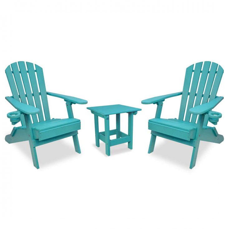 Value Line Adirondack Chairs with Value Line Side Table in Aruba Blue
