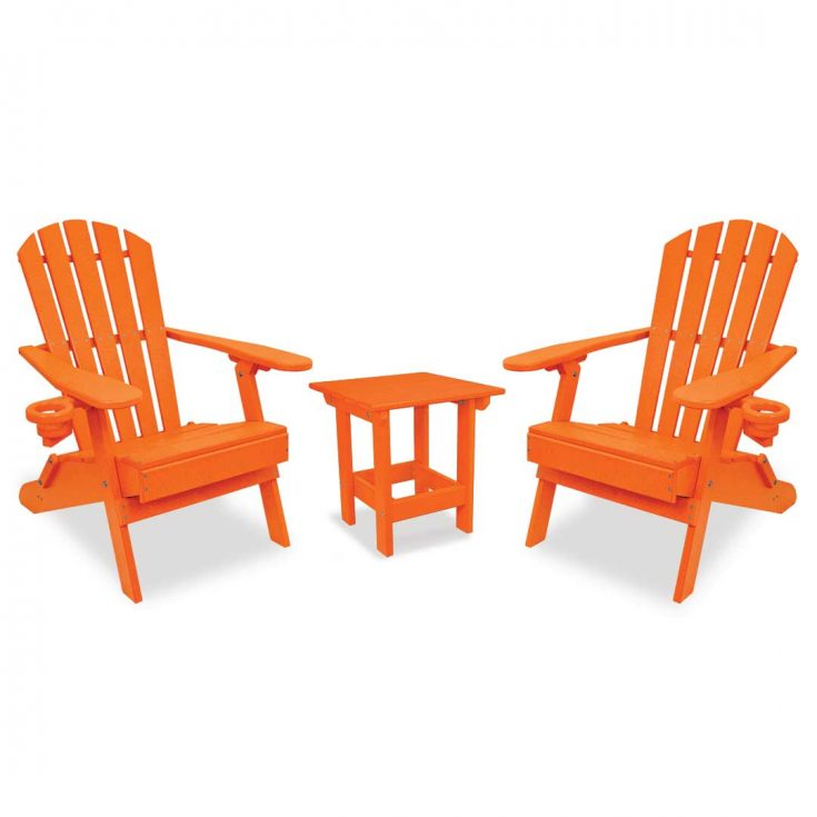 Value Line Adirondack Chairs with Value Line Side Table in Bright Orange