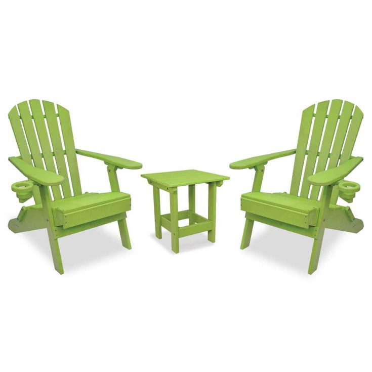 Value Line Adirondack Chairs with Value Line Side Table in Lime Green