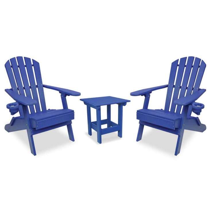 Value Line Adirondack Chairs with Value Line Side Table in Royal Blue