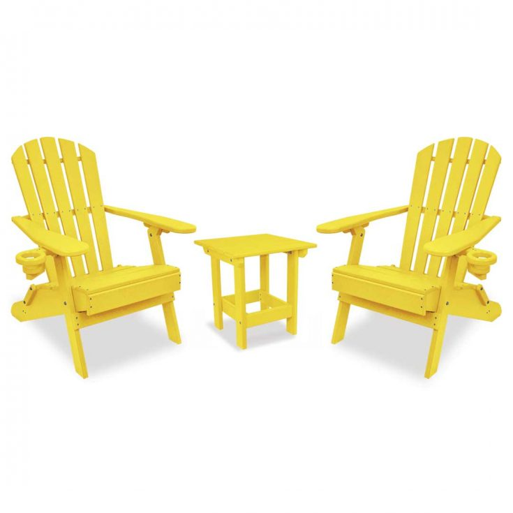 Value Line Adirondack Chairs with Value Line Side Table in Yellow
