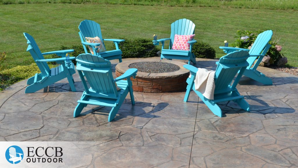 ECCB Outdoor Aruba Blue Adirondack Chairs around Fire Pit