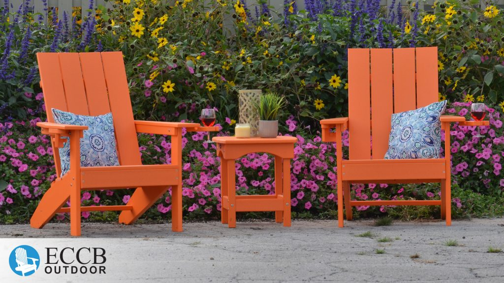 ECCB Outdoor Bright Orange Creek Side Adirondack Chairs by Garden with Harbor Side Table