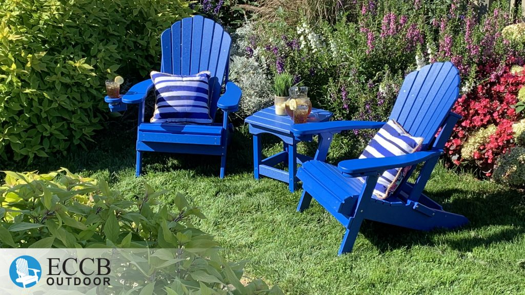 ECCB Outdoor Royal Blue Deluxe Adirondack Chairs in Garden with Harbor Side Table