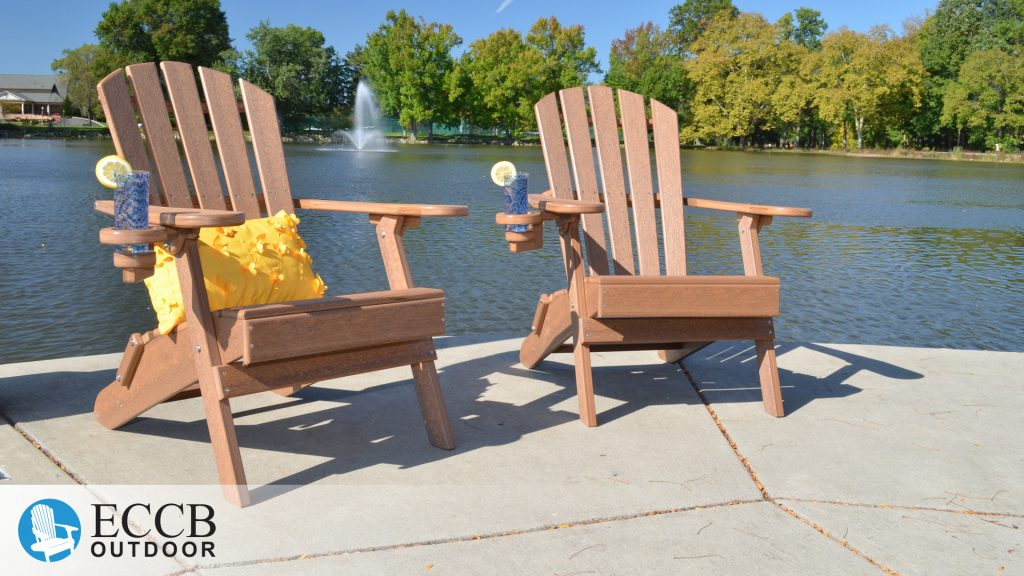 ECCB Outdoor Antique Mahogany Value Line Adirondack Chairs by Pond