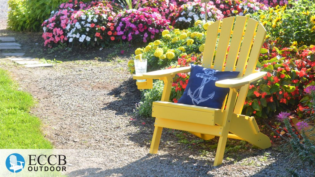 ECCB Outdoor Yellow Value Line Adirondack Chairs in Garden