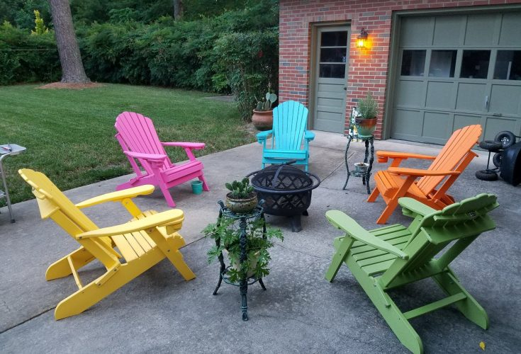 Deluxe Outer Banks Adirondack Chairs in Yellow, Pink, Aruba Blue, Orange, and Lime Green