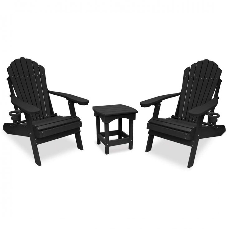 Deluxe Adirondack Chairs with Harbor Side Table in Black