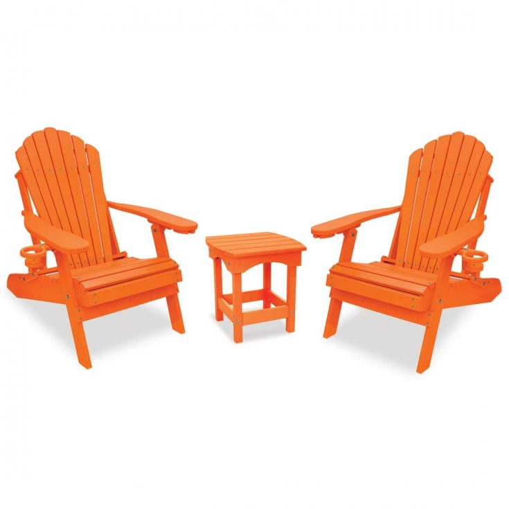 Deluxe Adirondack Chairs with Harbor Side Table in Bright Orange