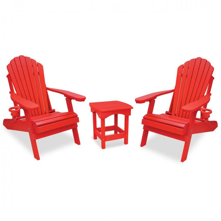 Deluxe Adirondack Chairs with Harbor Side Table in Bright Red