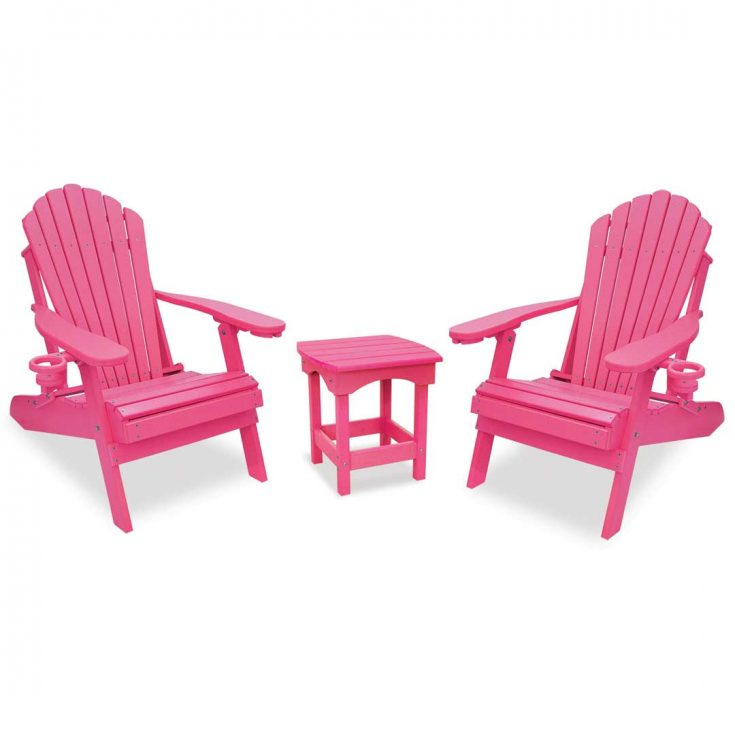 Deluxe Adirondack Chairs with Harbor Side Table in Pink