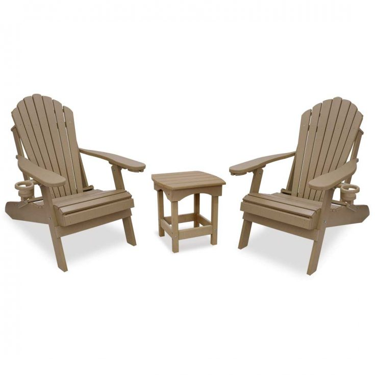 Deluxe Adirondack Chairs with Harbor Side Table in Weatherwood