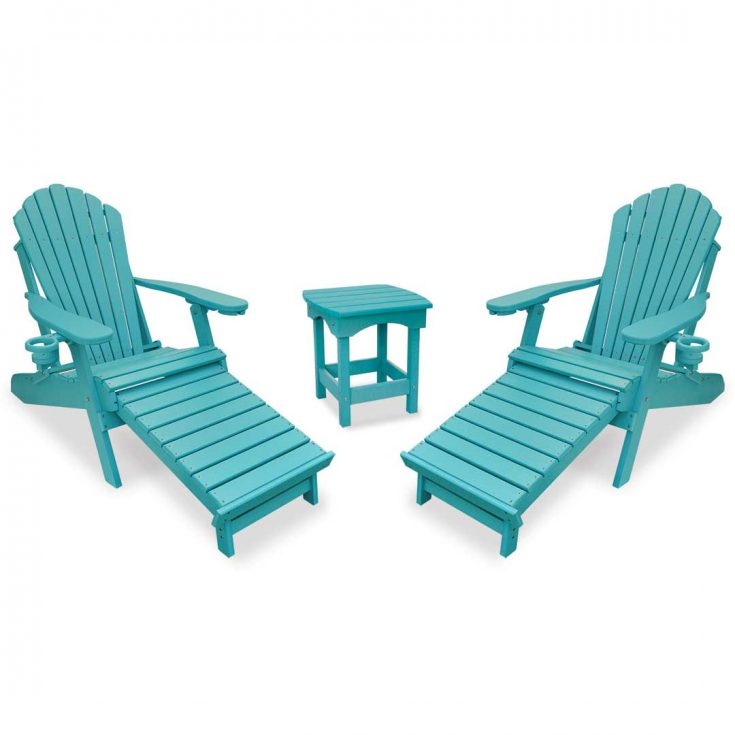 Deluxe Adirondack Chairs with Integrated Footrest with Harbor Side Table in Aruba Blue