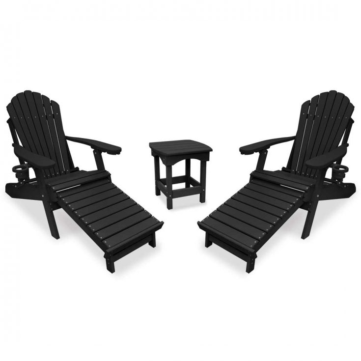 Deluxe Adirondack Chairs with Integrated Footrest with Harbor Side Table in Black