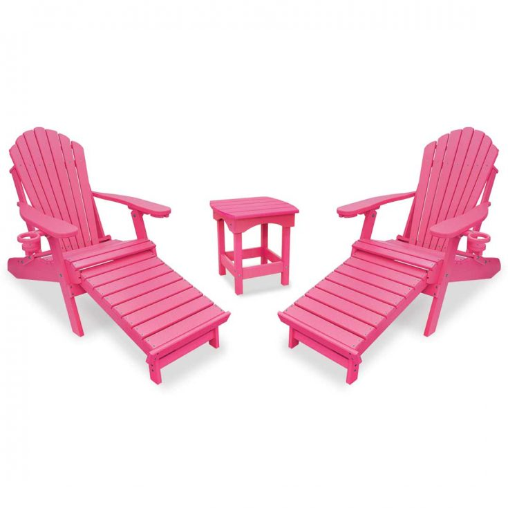 Deluxe Adirondack Chairs with Integrated Footrest with Harbor Side Table in Pink