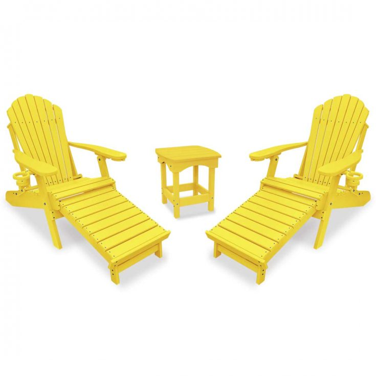 Deluxe Adirondack Chairs with Integrated Footrest with Harbor Side Table in Yellow