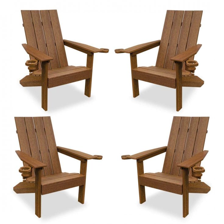 Set of 4 Creek Side Adirondack Chairs in Antique Mahogany