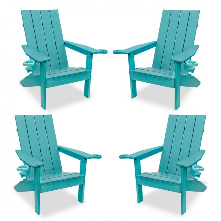 Set of 4 Creek Side Adirondack Chairs in Aruba Blue