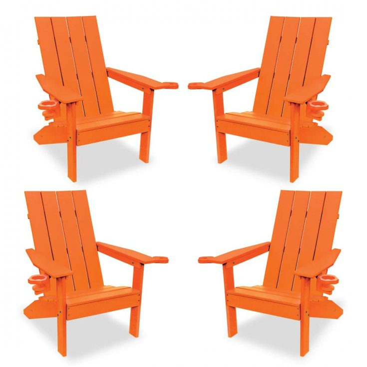 Set of 4 Creek Side Adirondack Chairs in Bright Orange