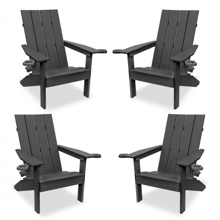 Set of 4 Creek Side Adirondack Chairs in Dark Gray