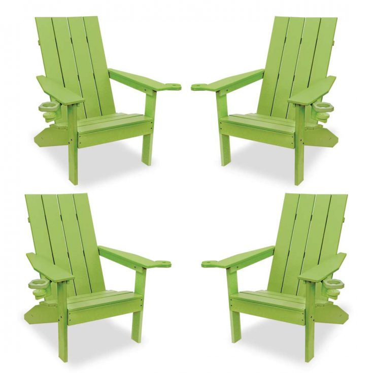 Set of 4 Creek Side Adirondack Chairs in Lime Green