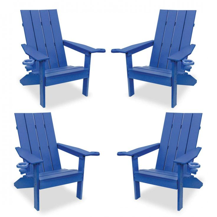 Set of 4 Creek Side Adirondack Chairs in Royal Blue