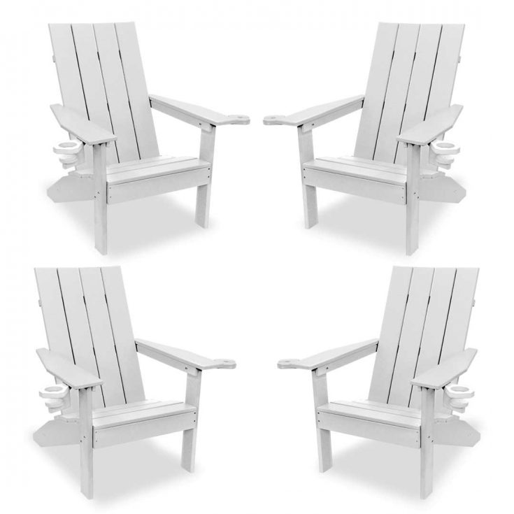 Set of 4 Creek Side Adirondack Chairs in White