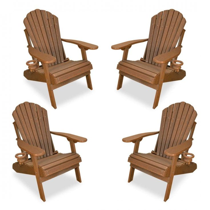 Set of 4 Deluxe Adirondack Chairs in Antique Mahogany