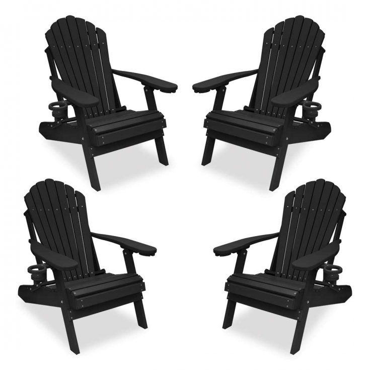 Set of 4 Deluxe Adirondack Chairs in Black