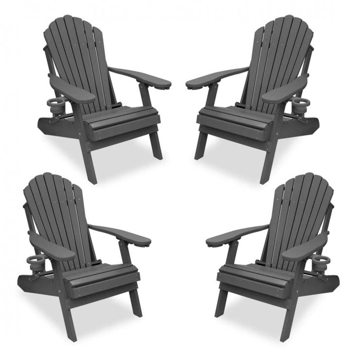 Set of 4 Deluxe Adirondack Chairs in Dark Gray