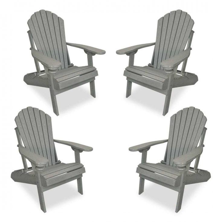 Set of 4 Deluxe Adirondack Chairs in Driftwood Gray