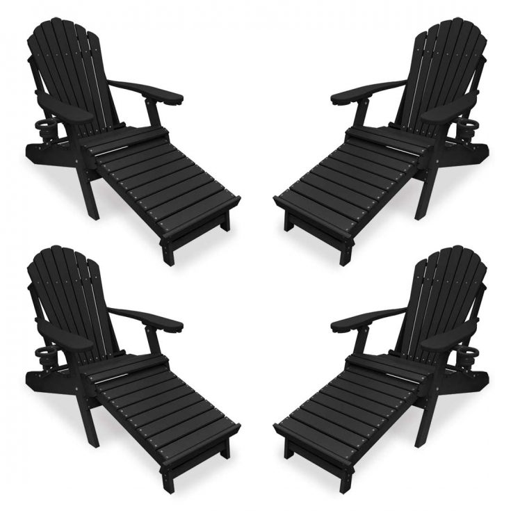 Set of 4 Deluxe Adirondack Chairs with Integrated Footrest in Black
