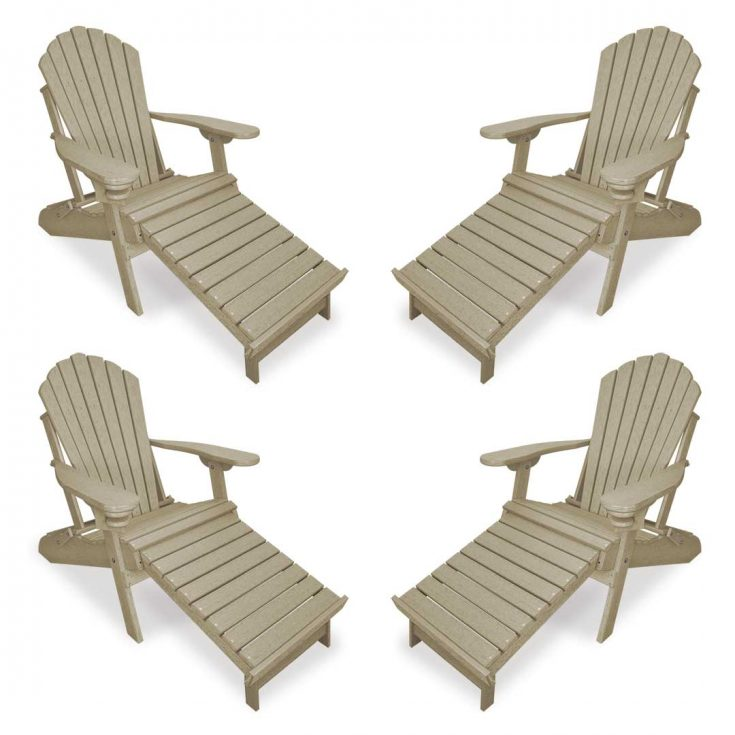 Set of 4 Deluxe Adirondack Chairs with Integrated Footrest in Birchwood