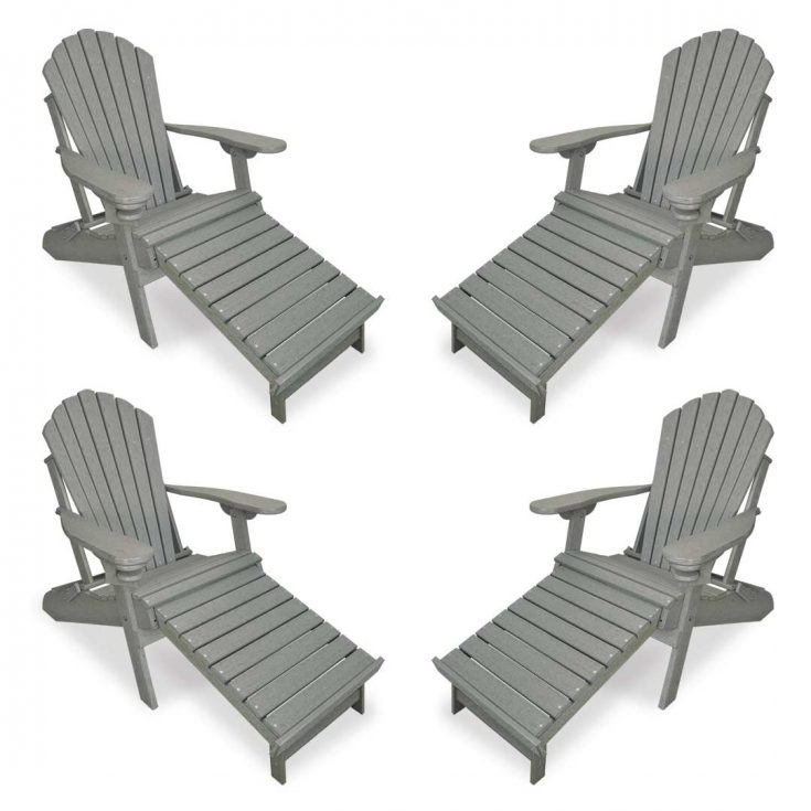 Set of 4 Deluxe Adirondack Chairs with Integrated Footrest in