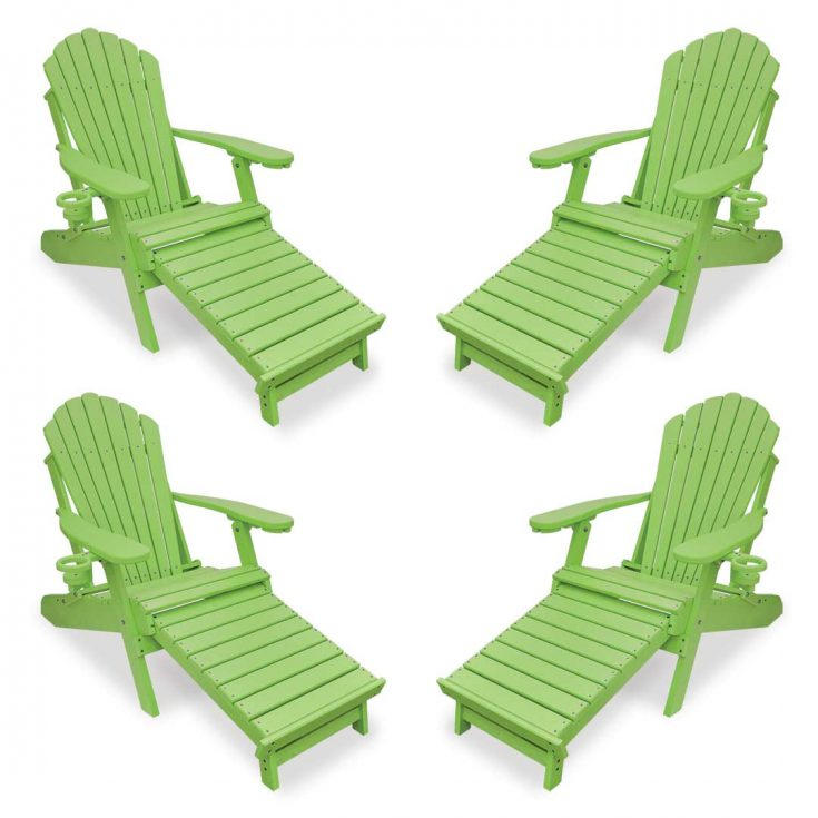 Set of 4 Deluxe Adirondack Chairs with Integrated Footrest in Lime Green