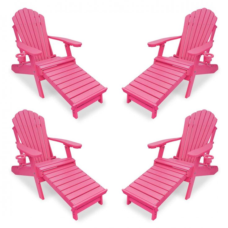 Set of 4 Deluxe Adirondack Chairs with Integrated Footrest in Pink