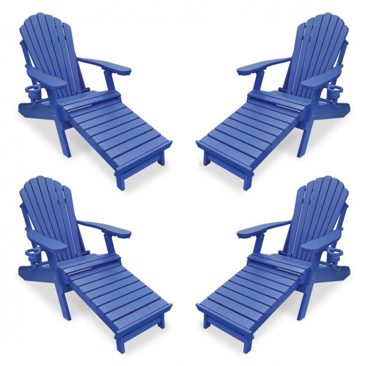 Set of 4 Deluxe Adirondack Chairs with Integrated Footrest in Royal Blue