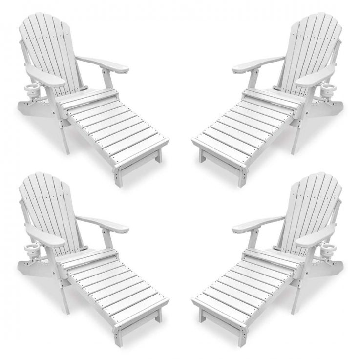 Set of 4 Deluxe Adirondack Chairs with Integrated Footrest in White