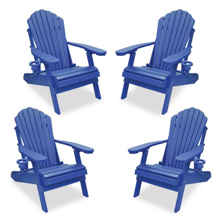 Set of 4 Deluxe Adirondack Chairs in Royal Blue