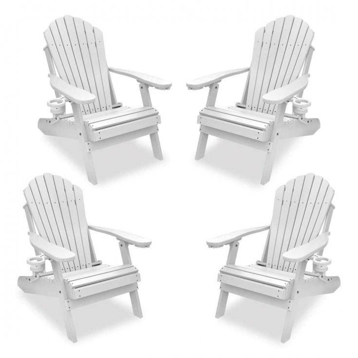 Set of 4 Deluxe Adirondack Chairs in White