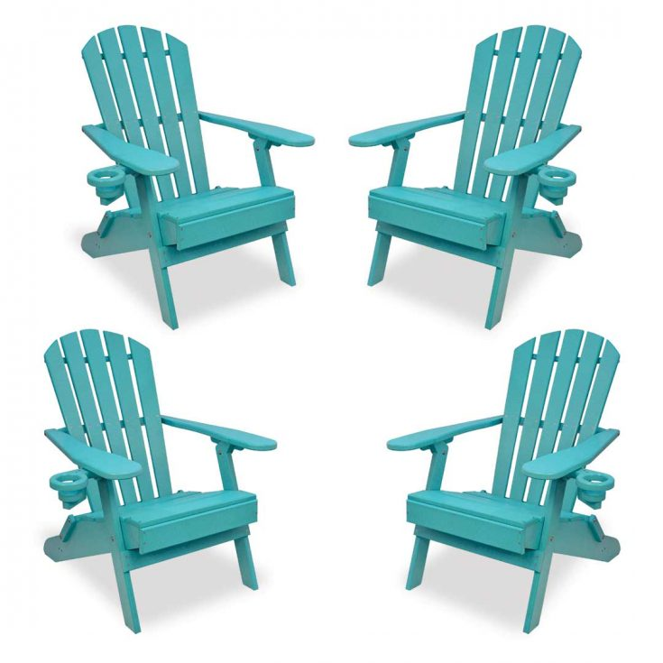 Set of 4 Value Line Adirondack Chairs in Aruba Blue