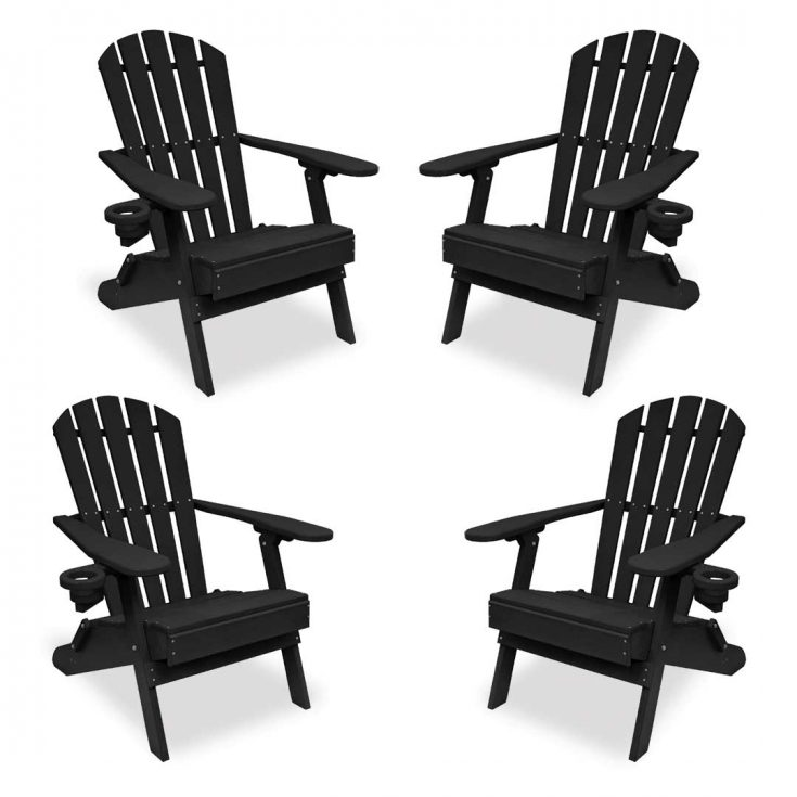 Set of 4 Value Line Adirondack Chairs in Black