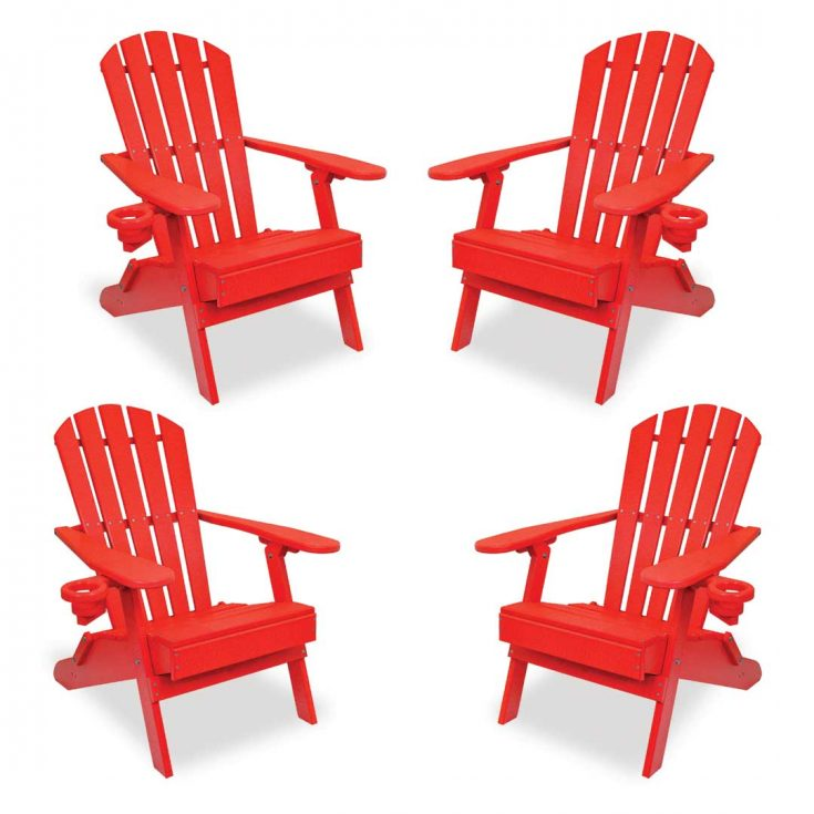 Set of 4 Value Line Adirondack Chairs in Bright Red