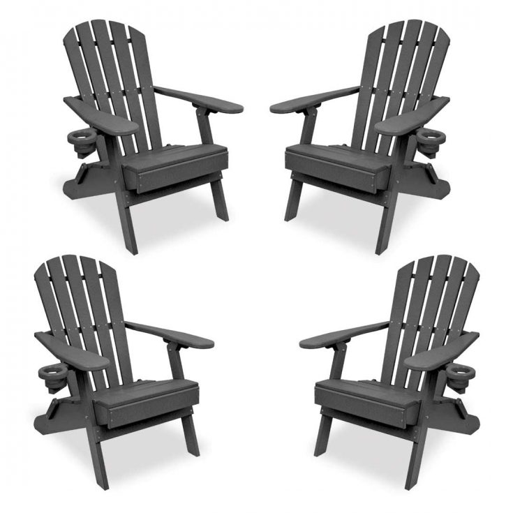 Set of 4 Value Line Adirondack Chairs in Dark Gray