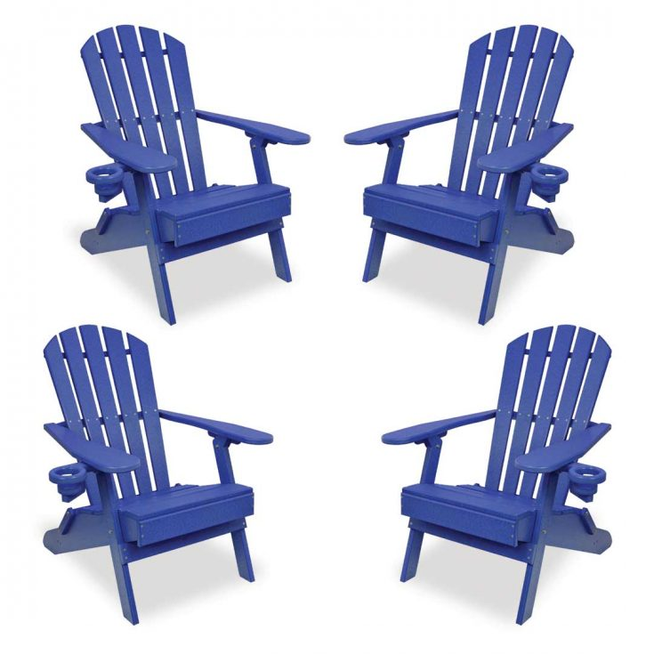 Set of 4 Value Line Adirondack Chairs in Royal Blue
