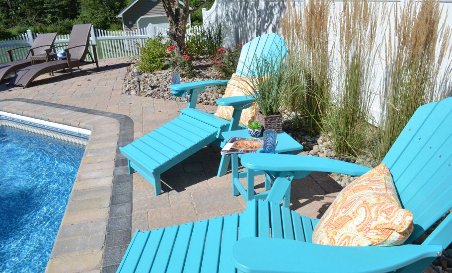 ECCB Outdoor Adirondack Chairs on a Pool Deck