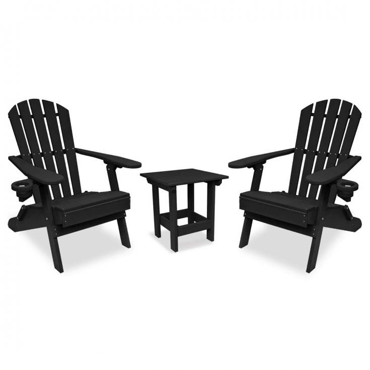 Value Line Adirondack Chairs with Value Line Side Table in Black